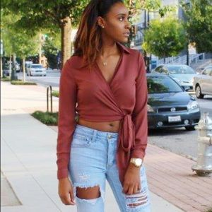 Pretty Little Thing wrap crop top